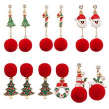 Fashion Red Plush Ball Ladies Pendant Earrings Christmas Tree Wreath Cane Snowman Santa Claus Head Long Tassel Gift