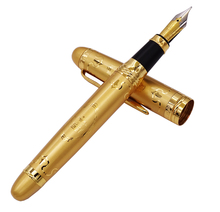 Duke 15 Fully Golden Metal Fountain Pen Beautiful Patterns Smooth Medium Nib Office Business Gift Home School Supplies dika wen luxury fashion beautiful golden carving mahogany paint medium nib roller ball pen new