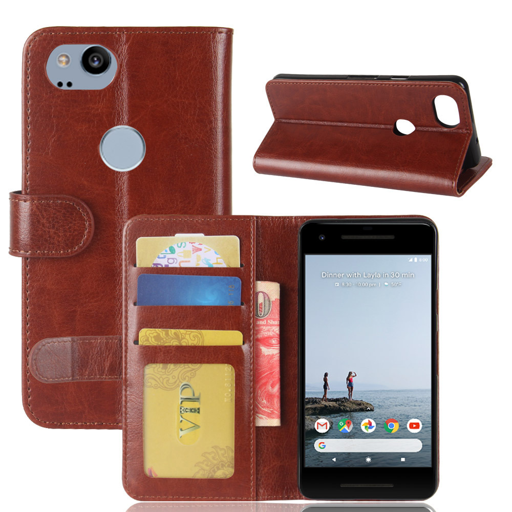 Aierwill Wallet Leather Case For Google Pixel 2 Xl Flip Cover Stand Coque Phone Bags Cases For Google Pixel 2 With Card Hold