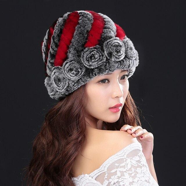Fur hat Guarantee 100% Natural Genuine Rex Rabbit Fur Cap Knitted Hats For Winter Fashion Women Beanies bone Warm Pineapple Cap