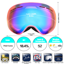 Jiepolly Magnet Interchangeable Skiing ski Goggles Snowboard Glasses Cycling Sunglasses Double layer lens men women Anti-fog