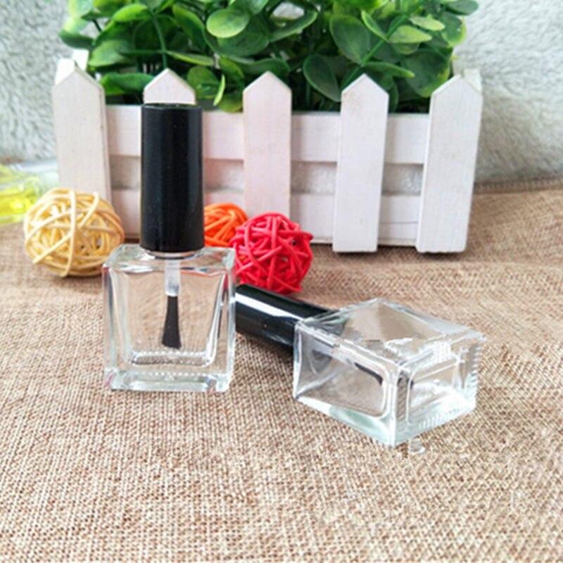 10ml Lucency Empty Glass Nail Polish Square Bottle Liquid Blusher Paint Glue Gel Crystal Nail Art