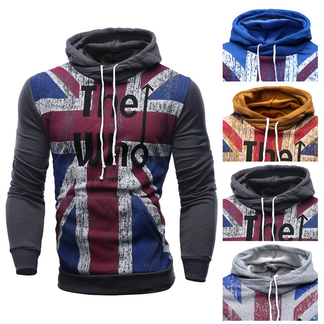 HOT 2019 Indoor spring autumn assassin letters printed cotton fleece union flag hoodies hip hop casual tracksuit men Free Ship image