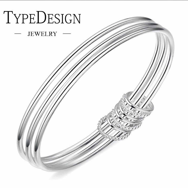 TYPE JEWELRY Fashion Three Ring S925 Silver With Smooth Surface Bracelet For Women 925 anillos Bracelet