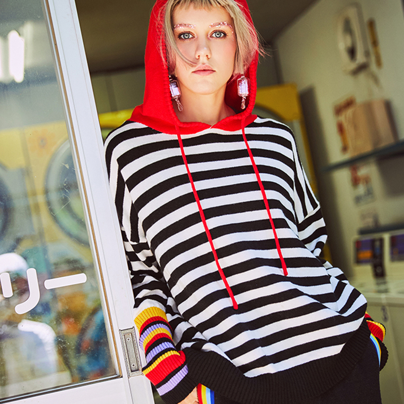 Female Spring Autumn New Hooded Sweatshirts Women Fashion Striped Casual Knitting Pullovers Plus Size Slim Long