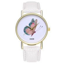 Reloj Butterfly Women Dress Watches Fashion Casual Style Leather Band Analog Quartz Wrist Watch Ladies Bracelet Female Clock Q3(China)