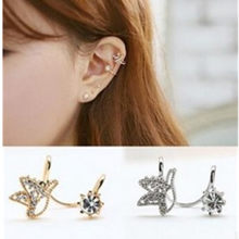 1pcs New Fashion Silver Crystal Gold Color Cuff Earring Butterfly Design Ear Clip For Sun flower Earring Women Jewelrys For(China)