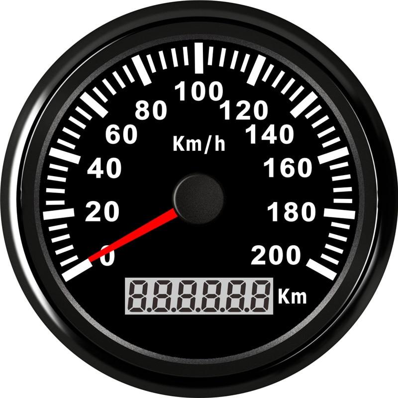 85 ミリメートル毎時 200 キロユニバーサルデジタル GPS スピードメーターゲージトラックマリンボート ATV ステンレス 316L ベゼル Gps スピードゲージ 12 V/24 V