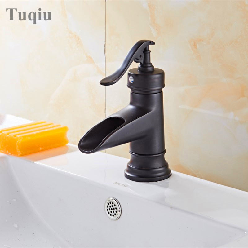 Free Shipping fashion high quality black ORB finished cold and hot single lever bathroom sink water fall faucet basin faucet free shipping high quality chrome finished brass in wall bathroom basin faucet brief sink faucet bf019