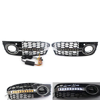 Flowing LED Honeycomb Mesh Grille Grill Fog Light Lamp Turn Signal DRL For AUDI A4 B8 09-11 For Standard Bumpers Only