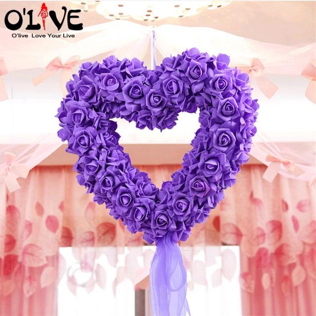Artificial Flowers Wreath Garlands Decoration Wedding Centerpieces Foam Roses DIY Props Supplies