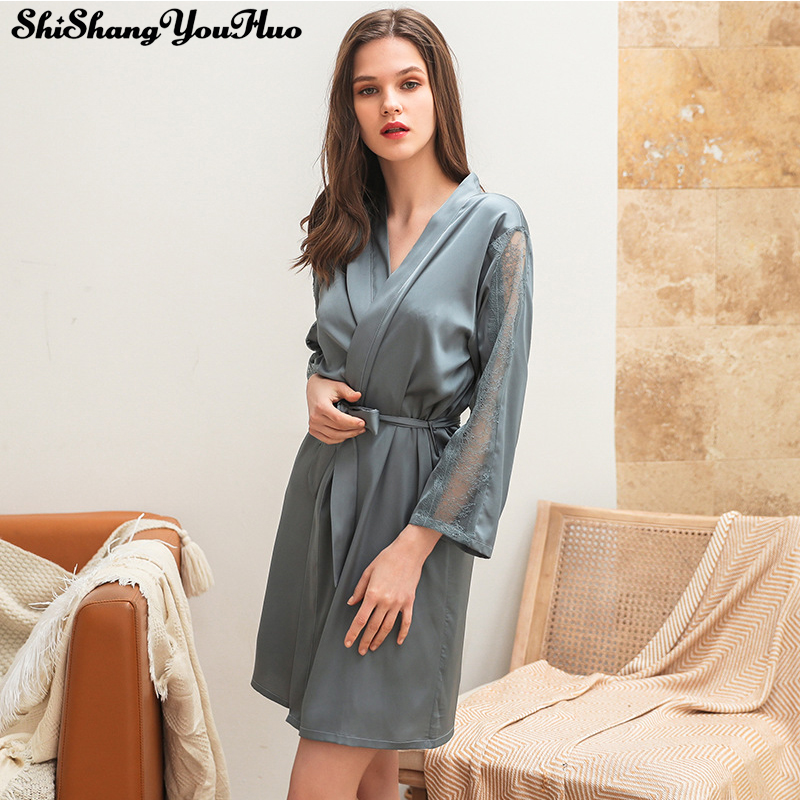 Women Lace Sleeve Bathrobe Sexy Bride Wedding Party Robe Dressing Gown Solid Color Bridesmaid Robes Bridal Shower Gift Sleepwear