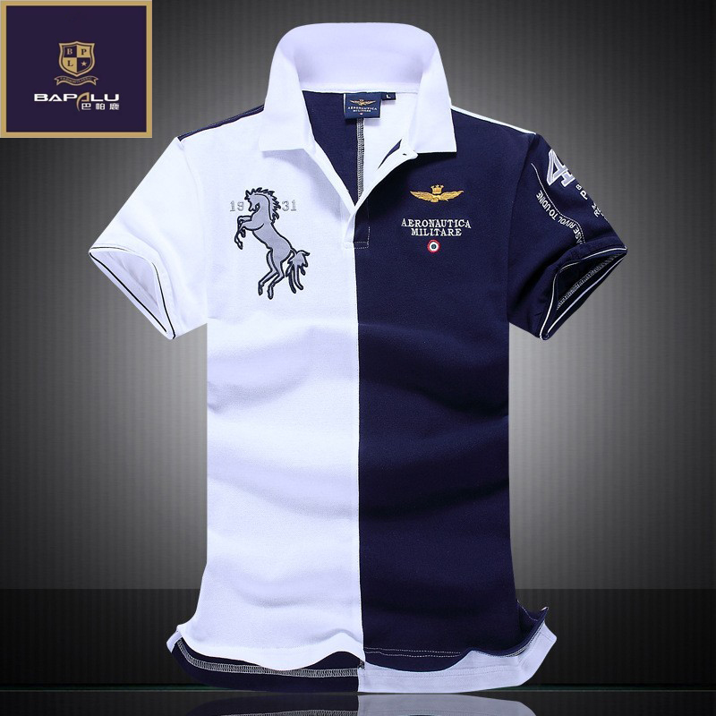summer new men's boutique embroidery breathable 100% cotton polo shirt lapel Men's Air Force One polo shirt size M-XXL