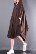 2017 female new arrival autumn plus plus size loose cotton medium-long dress with hood all-match irregular placketing sweatshirt