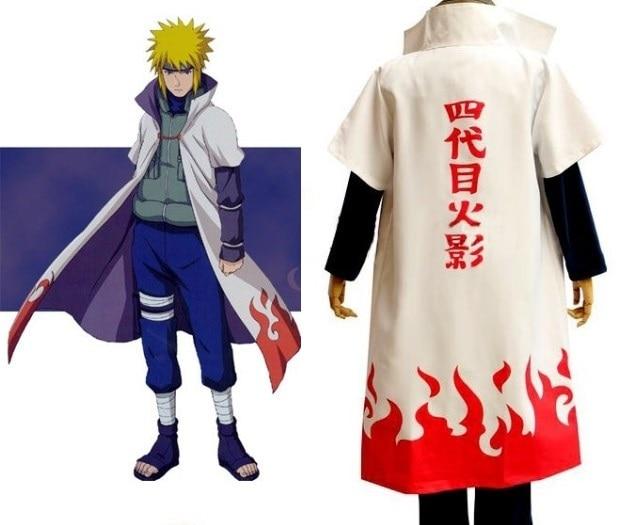 NARUTO Fourth Hokage Namikaze Minato Yondaime Cosplay Costume Uniform Cos  Cloak free shipping