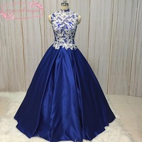 SuperKimJo prom dresses high neck lace appliques sheer bodice royal blue simple long ball gown evening dresses 2018 real