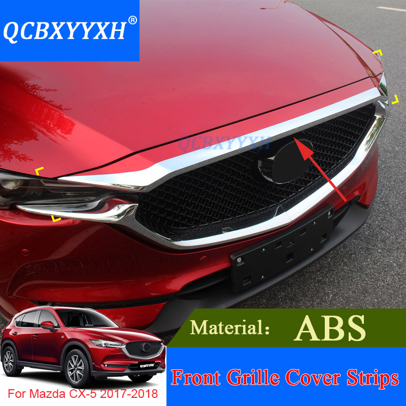 QCBXYYXH Car Styling ABS Chrome 1pcs Front Grille Hood Engine Cover Trim For Mazda CX-5 2017 2018 External Sequins Accessories high quality for toyota highlander 2015 2016 car cover bumper engine abs chrome trims front grid grill grille frame edge 1pcs