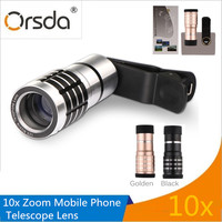 Orsda Uniwersalny teleobiektyw Zoom 10X obiektywy Obiektyw Telefonu komórkowego 10X Teleskop Klip Obiektyw lente cetular Dla iPhone Samsung HTC