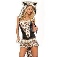 The Best Selling High Quality Very Cute Catwoman Costume Lingerie Sleeveless Leopard Dress For Women From Europe and US BI39