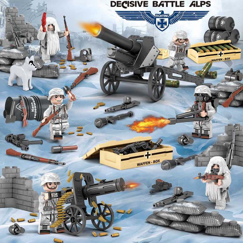 Military brickmania battle in the Alps action building block ww2 army Force figures artillery Ghillie Suit weapon box brick toy