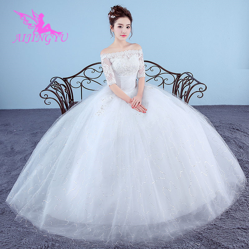 AIJINGYU 2018 plus size free shipping new hot selling cheap ball gown lace up back formal bride dresses wedding dress WK111
