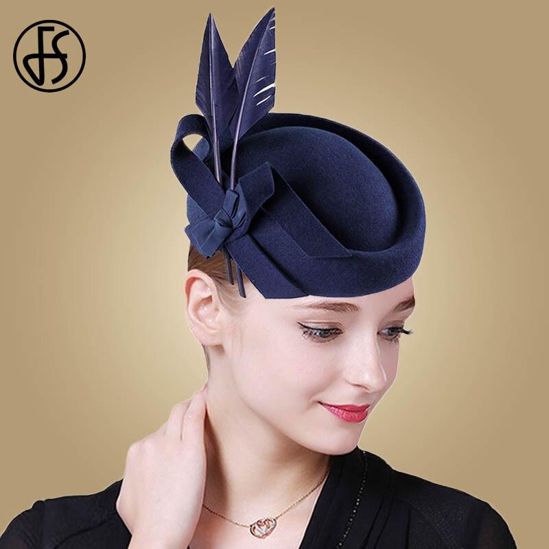 FS Fascinators bleu Royal noir laine feutre plume chapeaux de mariage pour les femmes élégant automne église Fedoras dame Derby thé fête chapeaux