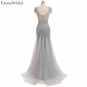 Image 5 - Erosebridal vestido de noche escarpado con cuentas grises, vestidos de baile con perlas, cuello en U