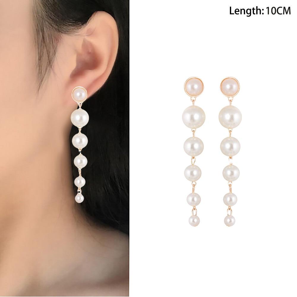1Pair Pearl Long Earrings Trendy Tassel Eardrop Oorbellen Jewelries Wedding Gifts Shiny Pendientes Beautiful Earrings Bijoux
