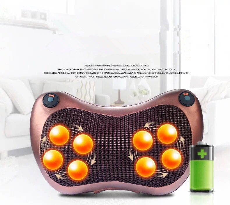 12 massage balls back massage pillow Rechargeable car home cervical massage pillow Wireless electric neck massager 8 heads 8 heads magnetotherapy massage pillow cervical massage instrument car home infrared kneading massager electric back massager