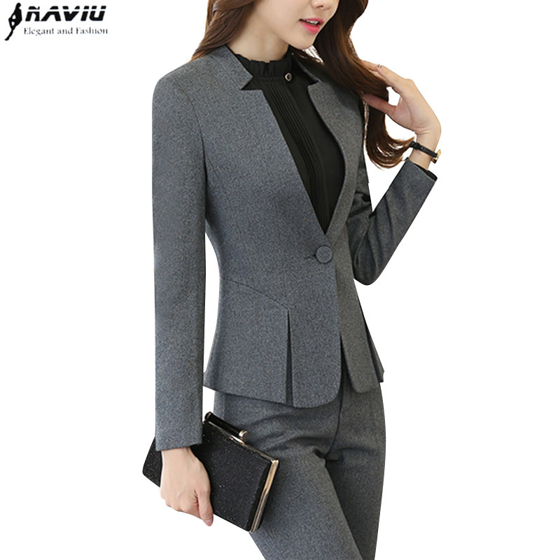 Fashion Business interview women pants suits plus size work wear office ladies long sleeve slim Formal