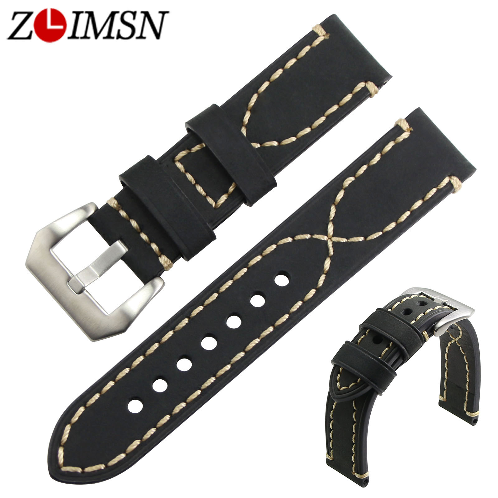 ZLIMSN Genuine Leather Watchbands Black Brown Yellow Thick Watch Band Strap Belt Stainless Steel Buckle Brushed 20 22 24 26mm zlimsn alligator leather watch bands strap watches accessories 20 22mm black brown genuine leather watchbands butterfly buckle