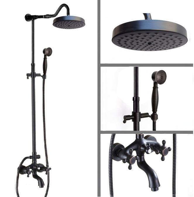 Luxury Oil Rubbed Bronze Wall Mounted Bathroom Rain Shower Faucet Set Double Cross Handle Bath Tub Mixer Tap Crs758