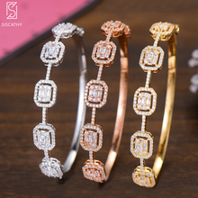Siscathy Trendy Women Bangles Charms Gold Silver Rosegold Color Jewelry Cubic Zirconia Luxury Open Bracelets For