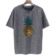 1f405785fdc 2018 Summer New Women s T-shirt Short-sleeved Round Neck Cartoon Applique  Shiny Silver Tshirts Casual Loose Women Tshirt