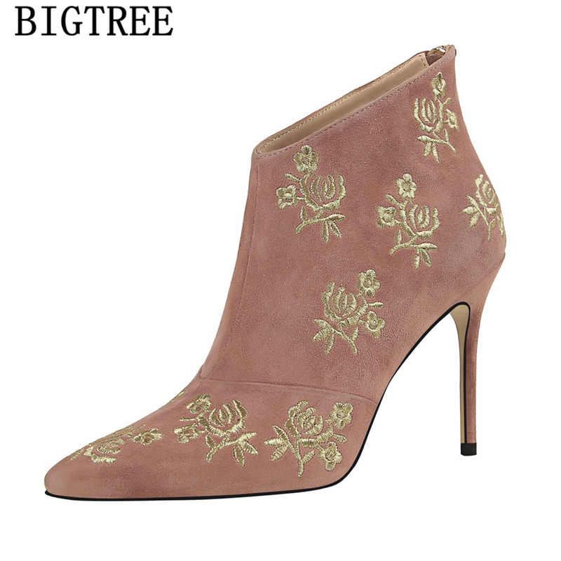 Bigtree schoenen borduurwerk wees teen hoge hakken booties nieuwe collectie 2019 roze laarzen nankle laarzen voor vrouwen zapatos de mujer buty
