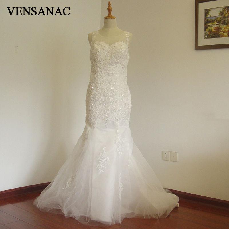 VENSANAC 2017 새로운 인어 자수 보트 목 탱크 민소 법원 - 웨딩 드레스