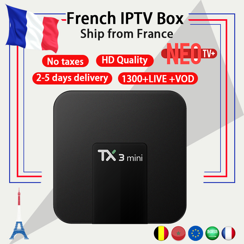 Français IPTV boîte TX3 mini android tv box 7.1 2g 16g IPTV boîte + NEO iptv code 1300 vivent en Europe Belgique Arabe iptv M3U smart tv box