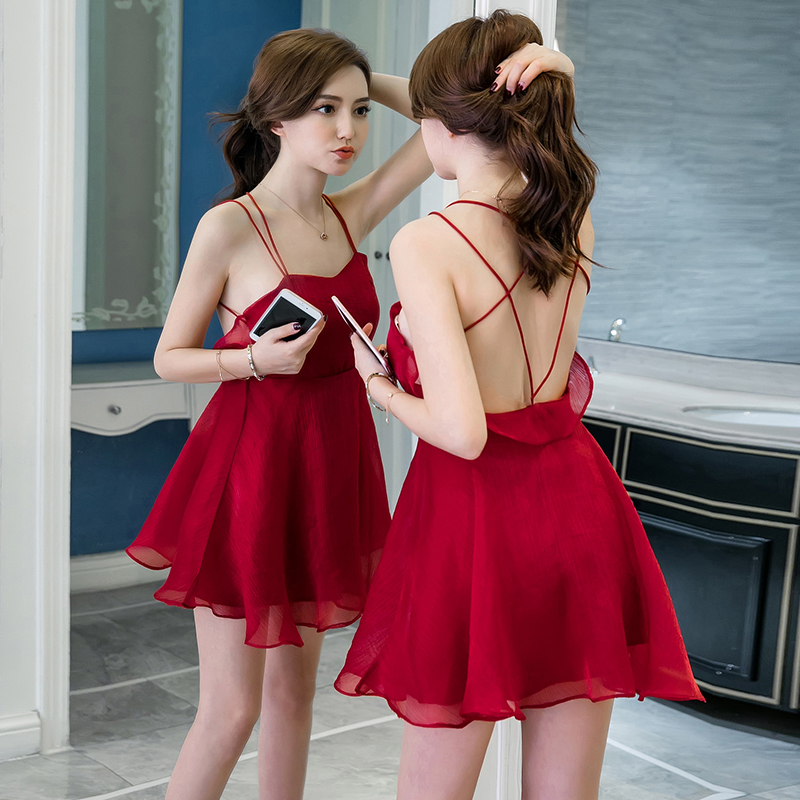 2019 summer new girls dress mini organza dress strap sexy girls dress high waist red backless