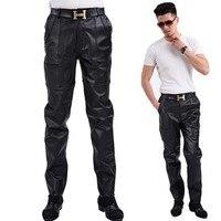 Autumn Winter Men Casual Pants Soft Genuine Leather Skin Jacket Pants Men Joggers Long Trousers