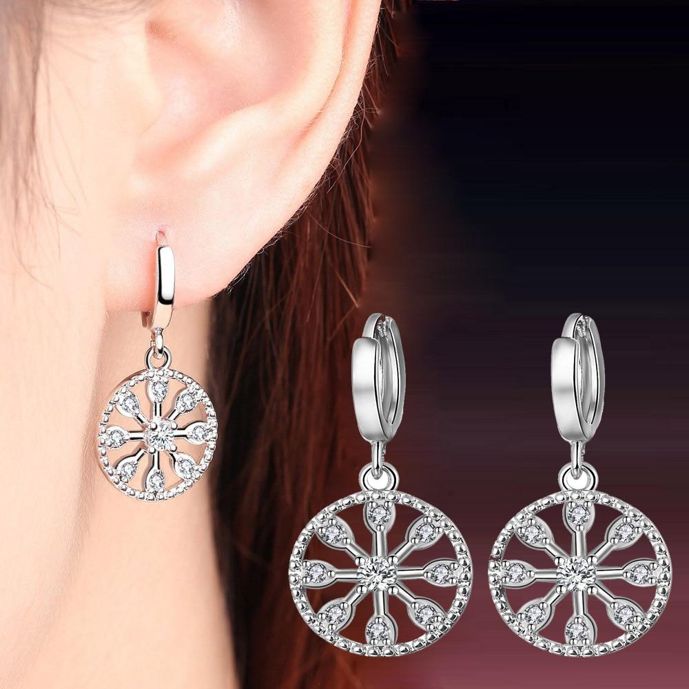 8d441b22f New 925 Sterling Silver Stud Earrings Crystal Round Earrings For Women  Temperament Festival Fashion Jewelry