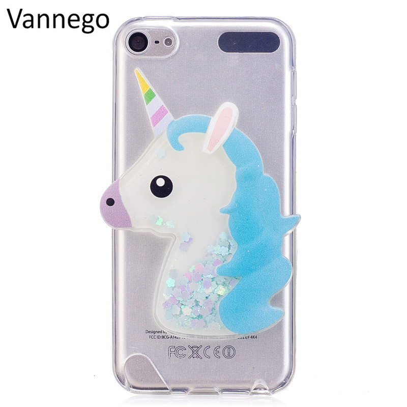 Galleria fotografica 3D Lovely Cartoon Unicorn Clouds Flashing Quicksand Case For iPod Touch 6 Touch 5 Soft TPU Phone Cover Case Touch 6 Touch 5