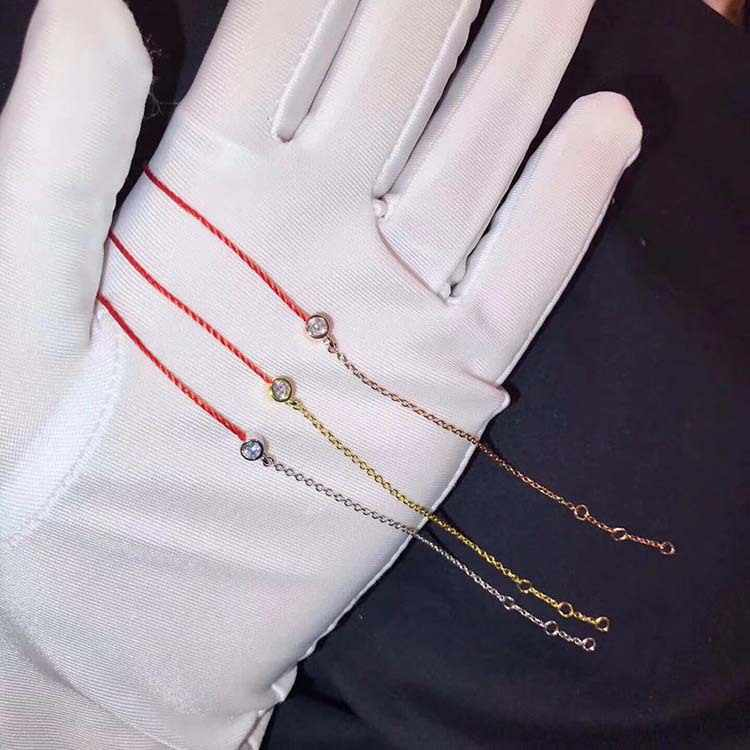 Fashion lucky redline bracelet rose Gold Color 925 sterling silver red rope one stone chain bangle luxury brand jewlery