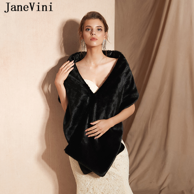JaneVini Elegant Black Short Bridal Faux Fur Shawl and Wrap Winter Soft Formal Ladies Prom Party Cape Jacket Bolero De Mariage