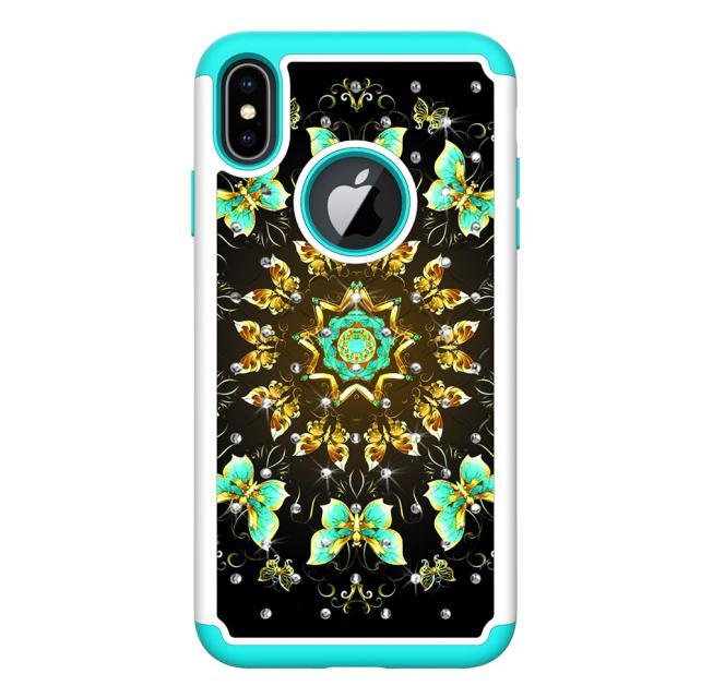 Gemalt haut PC silicon 2 in 1 fall Für iphone 6 7 plus 8 Fall bunte Jeweled Anti-klopfen zurück abdeckung für iphone X XSmax XR