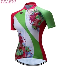 TELEYI Women Team Breathable  100% Polyester Short Sleeve Cycling Jersey Ciclismo Clothing Roupa No.4