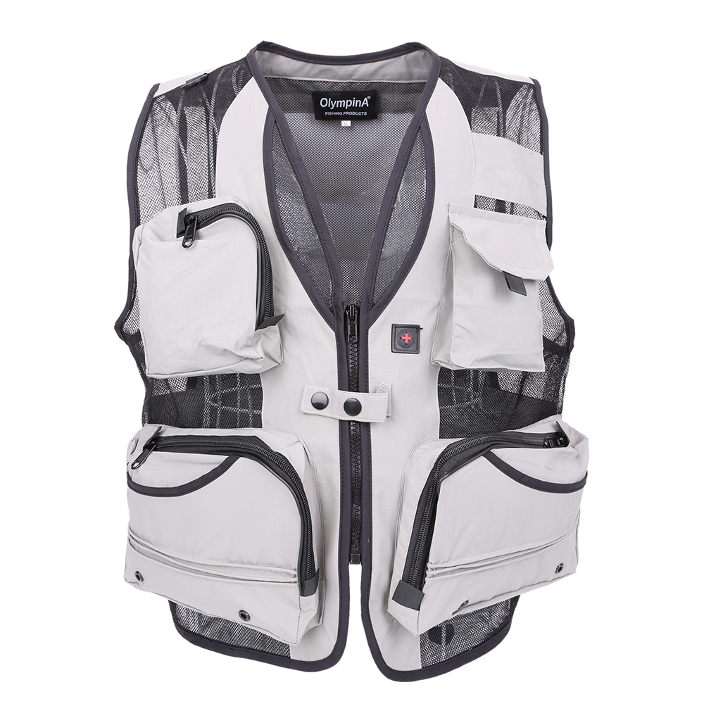 2019 Herre Mesh Veste Med Multi-Lomme Fotograf Vest Causal Outdoors Vest Regular Mænd Vest To Farver Plus Large 5XL