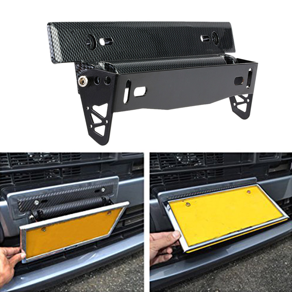 car styling universal car license plate frame holder carbon fiber racing number plate holder adjustable