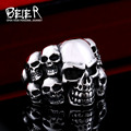 Beier new store 316L Stainless Steel high quality Biker ring Punk Lots of Skull Ring  Fashion Jewelry BR8-079