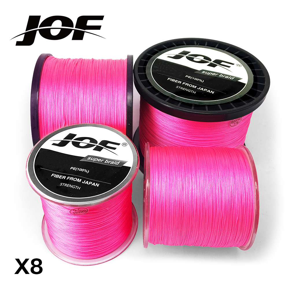 JOF PE Pink Braid Fishing Line 8 Strands 100M 300M 500M 1000M Sea Fishing Weave Super Strong Threads