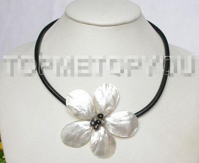 DYY 917 +++ Handicraft BIG 18 white shell black pearls flower Choker necklace Bridal jewelry free shipping